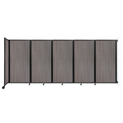 Wall-Mounted Room Divider 360 Folding Portable Partition 14' x 6' Gray Elm Wood Grain
