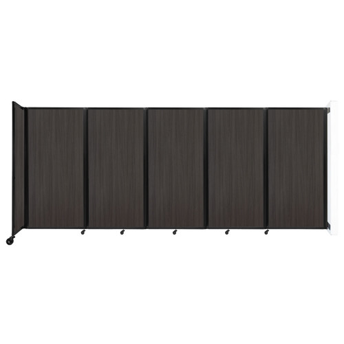 Wall-Mounted Room Divider 360 Folding Portable Partition 14' x 6' Carbon Ash Wood Grain