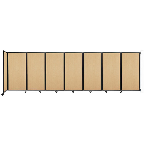 """Wall-Mounted Room Divider 360 Folding Portable Partition 19'6"""" x 6' Natural Maple Wood Grain"""