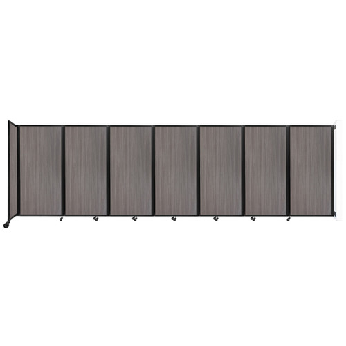 """Wall-Mounted Room Divider 360 Folding Portable Partition 19'6"""" x 6' Gray Elm Wood Grain"""