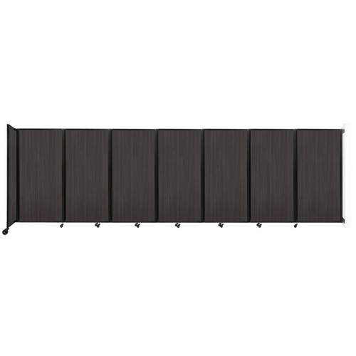 """Wall-Mounted Room Divider 360 Folding Portable Partition 19'6"""" x 6' Carbon Ash Wood Grain"""