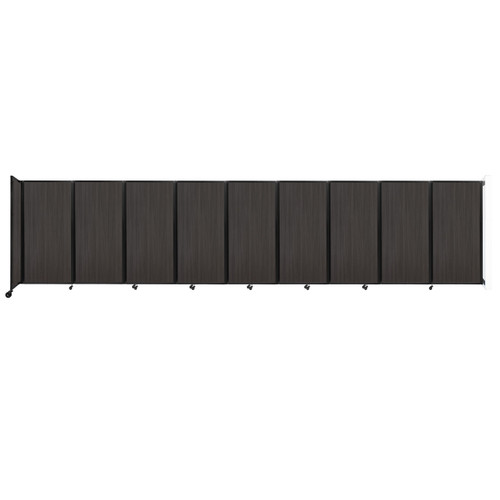 Wall-Mounted Room Divider 360 Folding Portable Partition 25' x 6' Carbon Ash Wood Grain