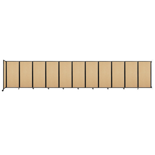 """Wall-Mounted Room Divider 360 Folding Portable Partition 30'6"""" x 6' Natural Maple Wood Grain"""