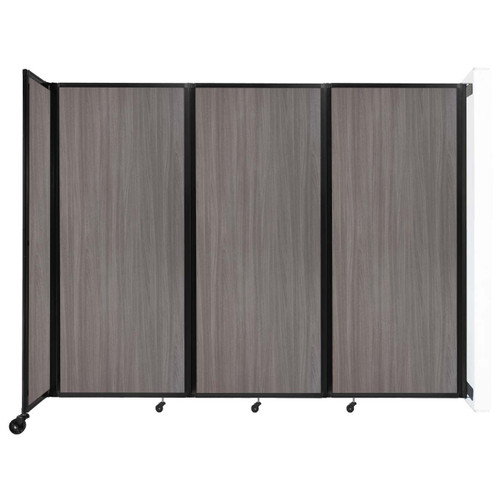 """Wall-Mounted Room Divider 360 Folding Portable Partition 8'6"""" x 6'10"""" Gray Elm Wood Grain"""