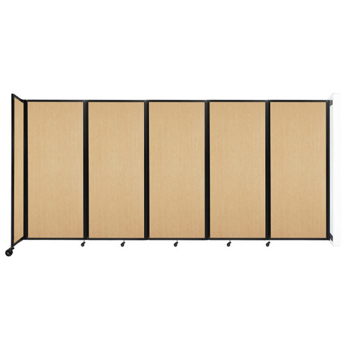 """Wall-Mounted Room Divider 360 Folding Portable Partition 14' x 6'10"""" Natural Maple Wood Grain"""