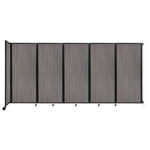 """Wall-Mounted Room Divider 360 Folding Portable Partition 14' x 6'10"""" Gray Elm Wood Grain"""