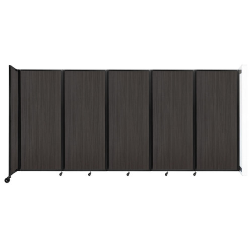 """Wall-Mounted Room Divider 360 Folding Portable Partition 14' x 6'10"""" Carbon Ash Wood Grain"""