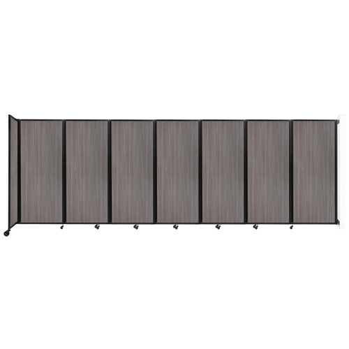 """Wall-Mounted Room Divider 360 Folding Portable Partition 19'6"""" x 6'10"""" Gray Elm Wood Grain"""
