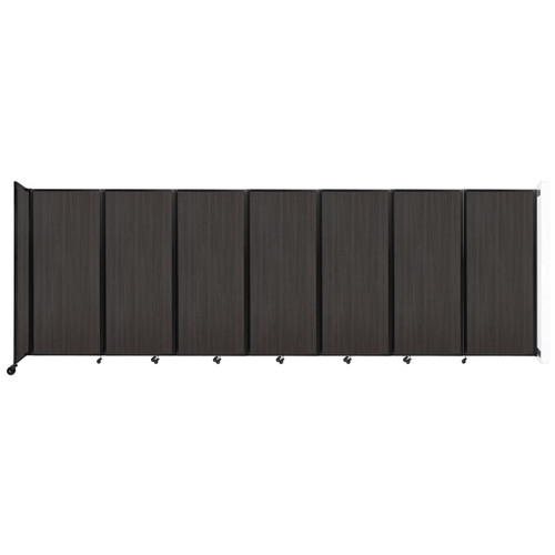 """Wall-Mounted Room Divider 360 Folding Portable Partition 19'6"""" x 6'10"""" Carbon Ash Wood Grain"""