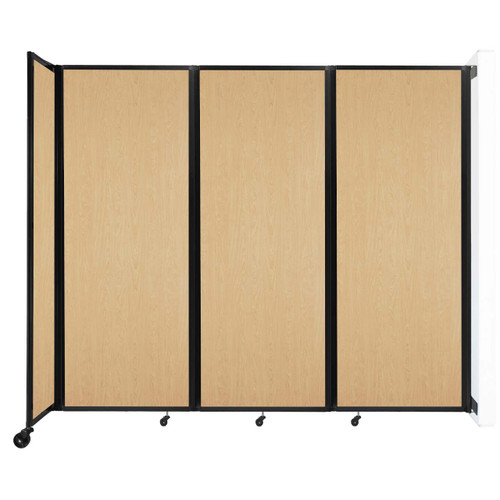 """Wall-Mounted Room Divider 360 Folding Portable Partition 8'6"""" x 7'6"""" Natural Maple Wood Grain"""