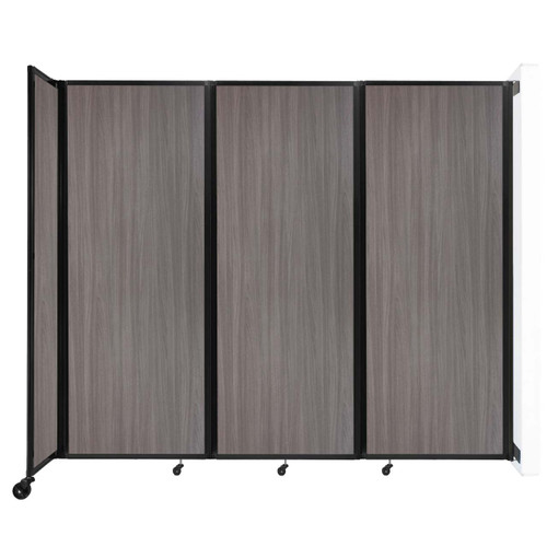 """Wall-Mounted Room Divider 360 Folding Portable Partition 8'6"""" x 7'6"""" Gray Elm Wood Grain"""