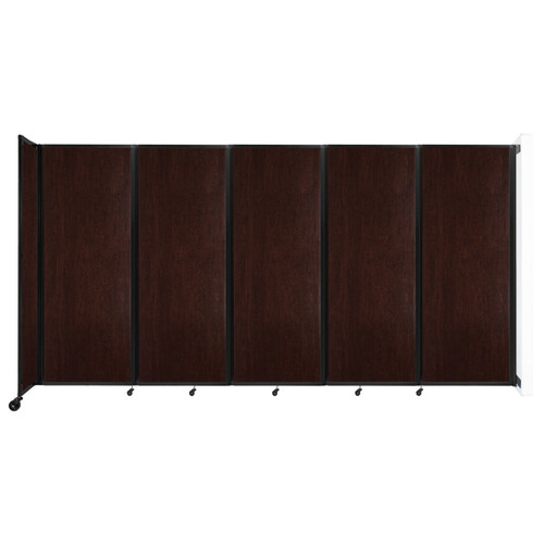 """Wall-Mounted Room Divider 360 Folding Portable Partition 14' x 7'6"""" Espresso Cherry Wood Grain"""