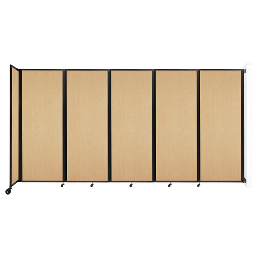 """Wall-Mounted Room Divider 360 Folding Portable Partition 14' x 7'6"""" Natural Maple Wood Grain"""