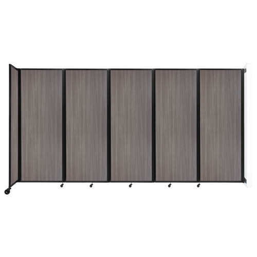 """Wall-Mounted Room Divider 360 Folding Portable Partition 14' x 7'6"""" Gray Elm Wood Grain"""