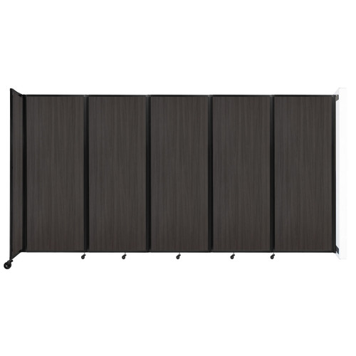 """Wall-Mounted Room Divider 360 Folding Portable Partition 14' x 7'6"""" Carbon Ash Wood Grain"""