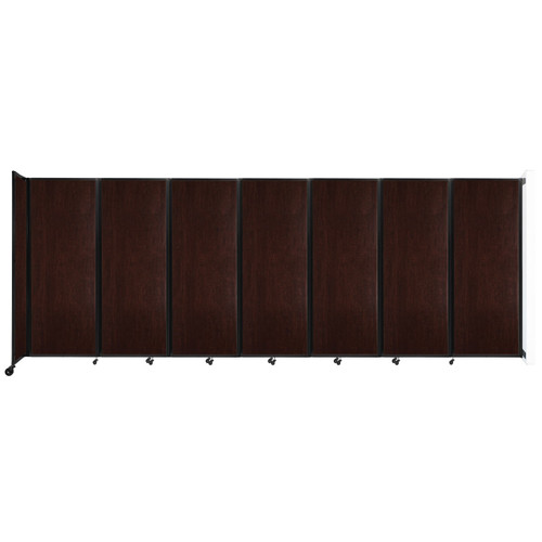 """Wall-Mounted Room Divider 360 Folding Portable Partition 19'6"""" x 7'6"""" Espresso Cherry Wood Grain"""