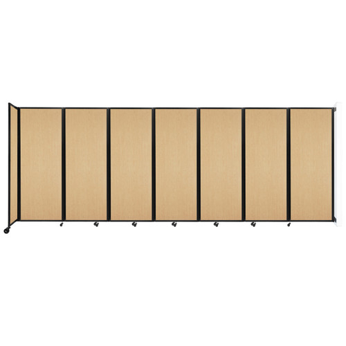 """Wall-Mounted Room Divider 360 Folding Portable Partition 19'6"""" x 7'6"""" Natural Maple Wood Grain"""
