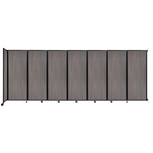 """Wall-Mounted Room Divider 360 Folding Portable Partition 19'6"""" x 7'6"""" Gray Elm Wood Grain"""