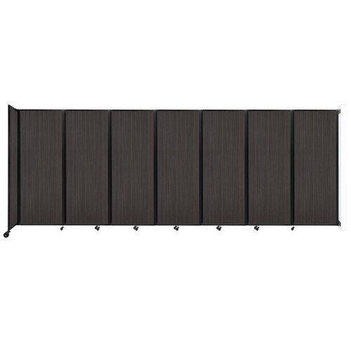 """Wall-Mounted Room Divider 360 Folding Portable Partition 19'6"""" x 7'6"""" Carbon Ash Wood Grain"""
