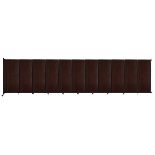 """Wall-Mounted Room Divider 360 Folding Portable Partition 30'6"""" x 7'6"""" Espresso Cherry Wood Grain"""