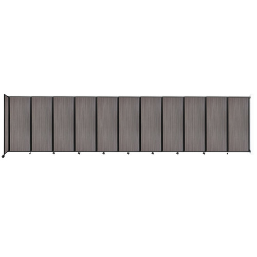 """Wall-Mounted Room Divider 360 Folding Portable Partition 30'6"""" x 7'6"""" Gray Elm Wood Grain"""