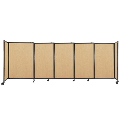 """StraightWall Sliding Portable Partition 11'3"""" x 4' Natural Maple Wood Grain"""