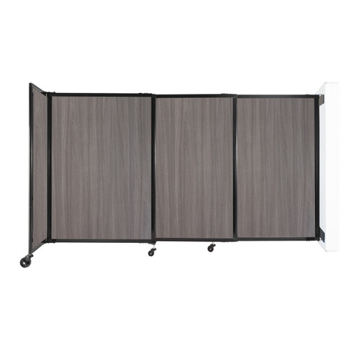 """Wall-Mounted StraightWall Sliding Partition 7'2"""" x 4' Gray Elm Wood Grain"""