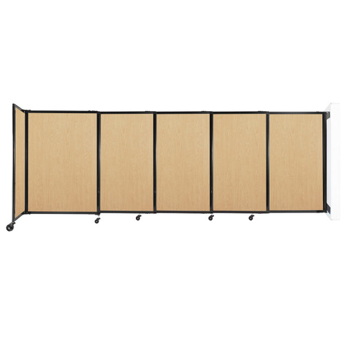 """Wall-Mounted StraightWall Sliding Partition 11'3"""" x 4' Natural Maple Wood Grain"""