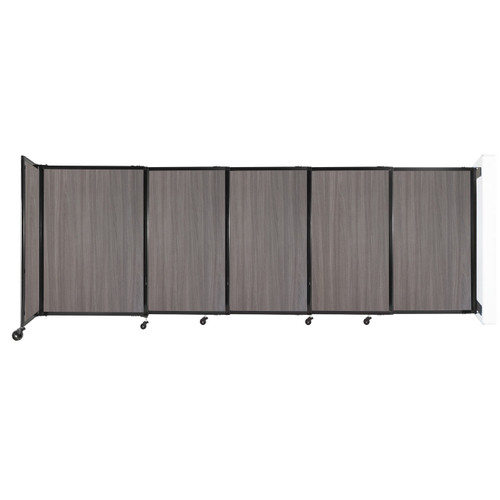 """Wall-Mounted StraightWall Sliding Partition 11'3"""" x 4' Gray Elm Wood Grain"""