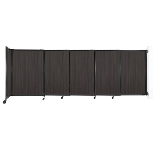 """Wall-Mounted StraightWall Sliding Partition 11'3"""" x 4' Carbon Ash Wood Grain"""
