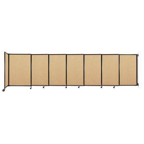 """Wall-Mounted StraightWall Sliding Partition 15'6"""" x 4' Natural Maple Wood Grain"""