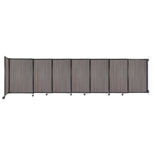 """Wall-Mounted StraightWall Sliding Partition 15'6"""" x 4' Gray Elm Wood Grain"""