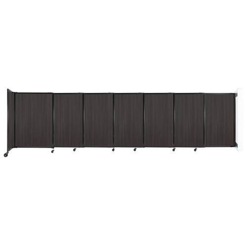 """Wall-Mounted StraightWall Sliding Partition 15'6"""" x 4' Carbon Ash Wood Grain"""
