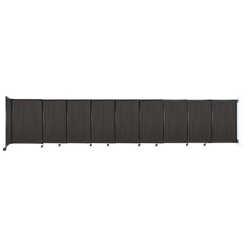 """Wall-Mounted StraightWall Sliding Partition 19'9"""" x 4' Carbon Ash Wood Grain"""