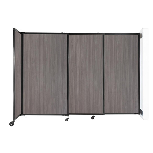 """Wall-Mounted StraightWall Sliding Partition 7'2"""" x 5' Gray Elm Wood Grain"""