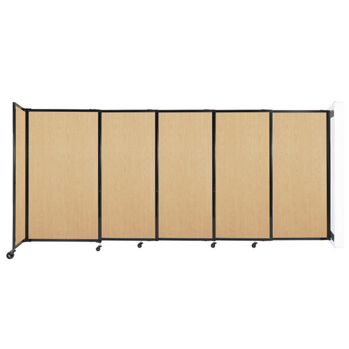 """Wall-Mounted StraightWall Sliding Partition 11'3"""" x 5' Natural Maple Wood Grain"""