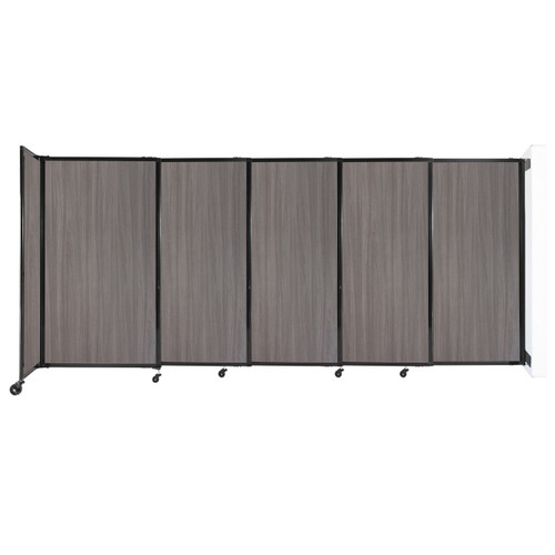 """Wall-Mounted StraightWall Sliding Partition 11'3"""" x 5' Gray Elm Wood Grain"""