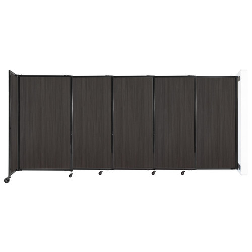 """Wall-Mounted StraightWall Sliding Partition 11'3"""" x 5' Carbon Ash Wood Grain"""