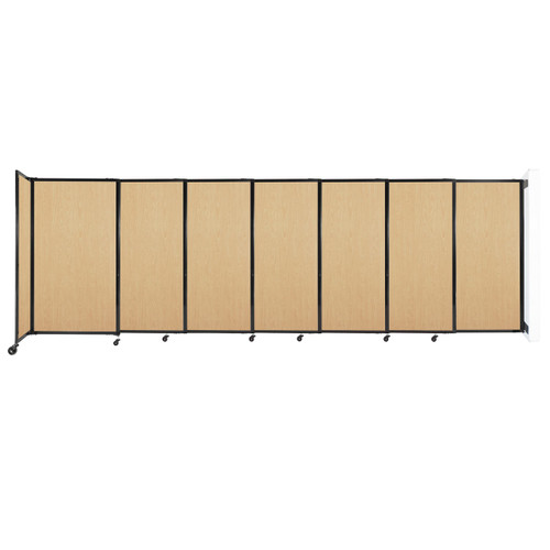 """Wall-Mounted StraightWall Sliding Partition 15'6"""" x 5' Natural Maple Wood Grain"""