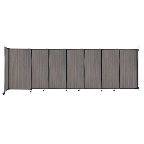 """Wall-Mounted StraightWall Sliding Partition 15'6"""" x 5' Gray Elm Wood Grain"""