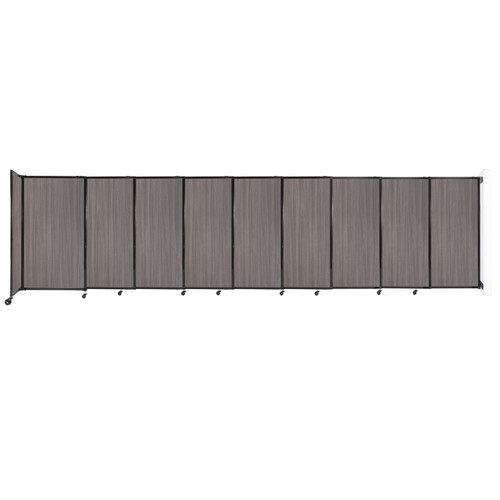 """Wall-Mounted StraightWall Sliding Partition 19'9"""" x 5' Gray Elm Wood Grain"""