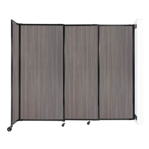 """Wall-Mounted StraightWall Sliding Partition 7'2"""" x 6' Gray Elm Wood Grain"""