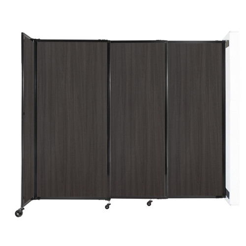 """Wall-Mounted StraightWall Sliding Partition 7'2"""" x 6' Carbon Ash Wood Grain"""