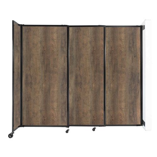 "Wall-Mounted StraightWall Sliding Partition 7'2"" x 6' Urban Oak Wood Grain"