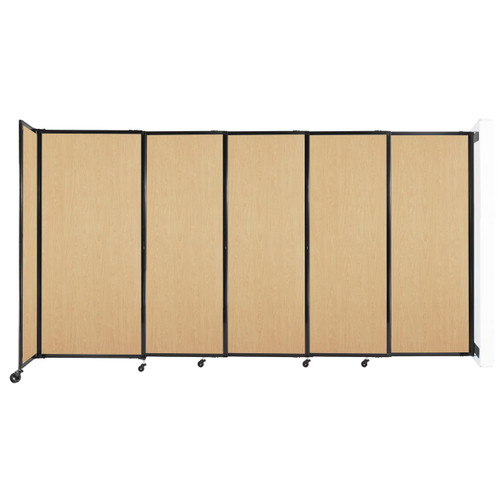 """Wall-Mounted StraightWall Sliding Partition 11'3"""" x 6' Natural Maple Wood Grain"""