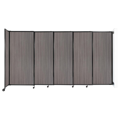"""Wall-Mounted StraightWall Sliding Partition 11'3"""" x 6' Gray Elm Wood Grain"""