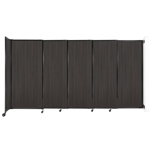 """Wall-Mounted StraightWall Sliding Partition 11'3"""" x 6' Carbon Ash Wood Grain"""