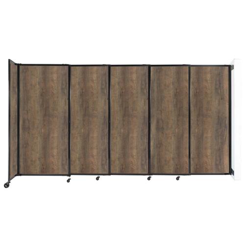 "Wall-Mounted StraightWall Sliding Partition 11'3"" x 6' Urban Oak Wood Grain"