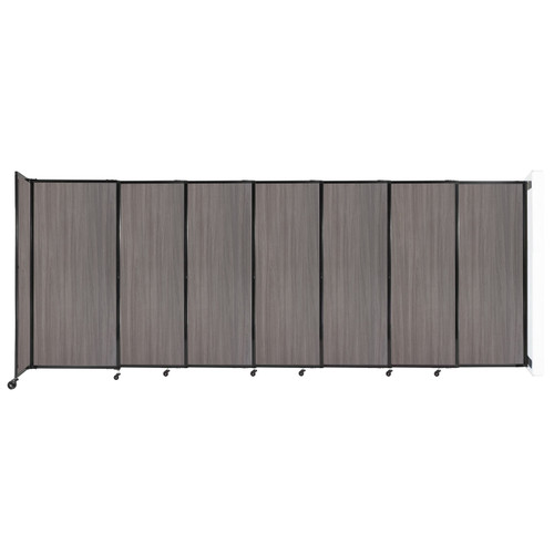 """Wall-Mounted StraightWall Sliding Partition 15'6"""" x 6' Gray Elm Wood Grain"""