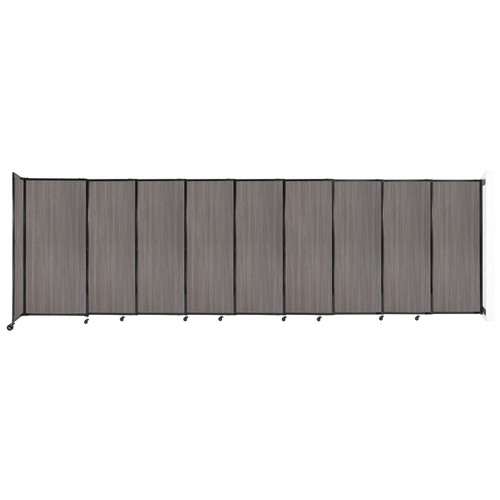 """Wall-Mounted StraightWall Sliding Partition 19'9"""" x 6' Gray Elm Wood Grain"""